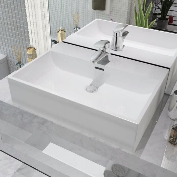 Luxueux Magnifique-Vasque avec trou Vasque à trou Vasque à Poser de robinet en céramique Blanc 60,5x42,5x14,5cm