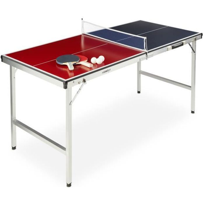 Relaxdays Table de ping-pong pliante, portable, Filet, 2 raquettes, 3 balles, Alu, MDF, 67,5 x 151 x 67,5 cm, bleu/rouge -