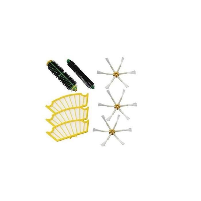STOEX®Kit brosses centrales compatibles pour iRobot Roomba + 3 filtres + 3 brosses latérales à 6 bras Série 500 510 520 521 530 5...