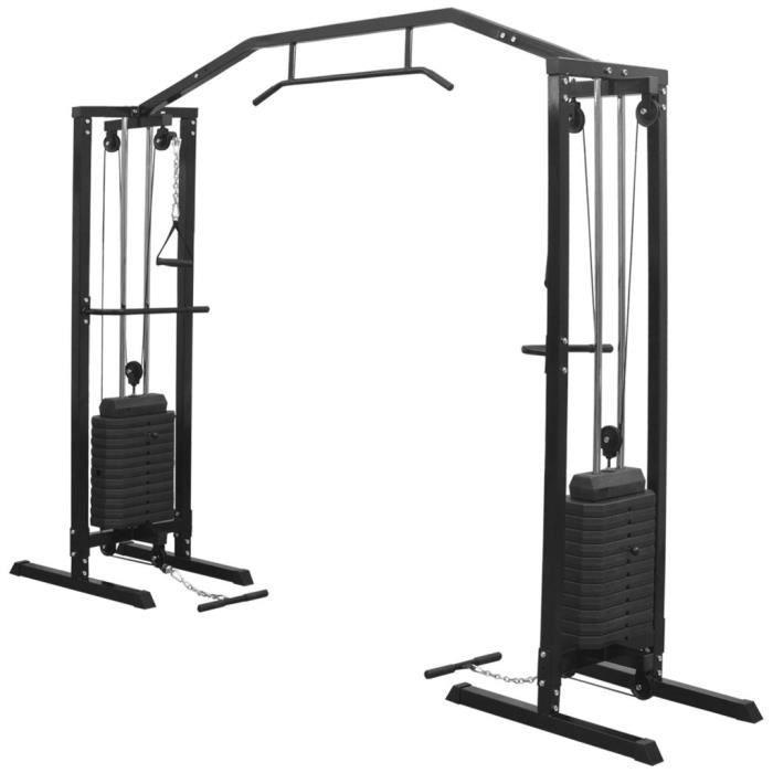 Centre d'entraînement à câbles 315 cm Noir