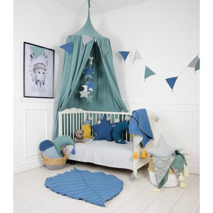 solenzo -Tente Ciel de lit bleu vert pour Chambre d\'enfant (sans  Accessoires)