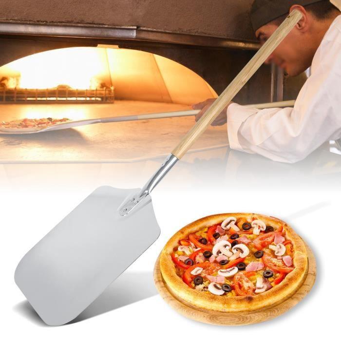 PELLE COURTE A a pizza EN INOX PRO manche rond Plateau long 37 x larg 33 cm