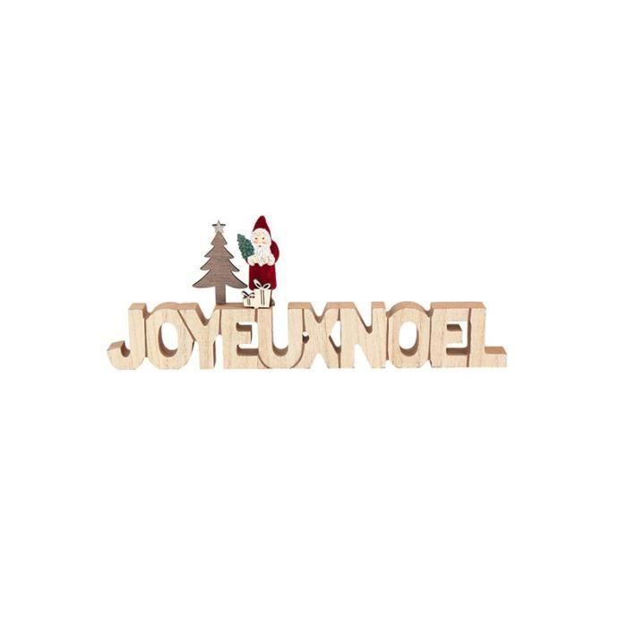 Cher Père Noël Rouge Vert Table Bois Signe de Noël décoration 17.5/' NEUF