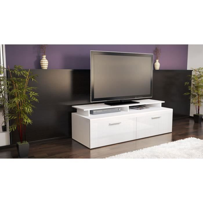 meuble tv blanc 140 cm achat vente meuble tv meuble tv. Black Bedroom Furniture Sets. Home Design Ideas