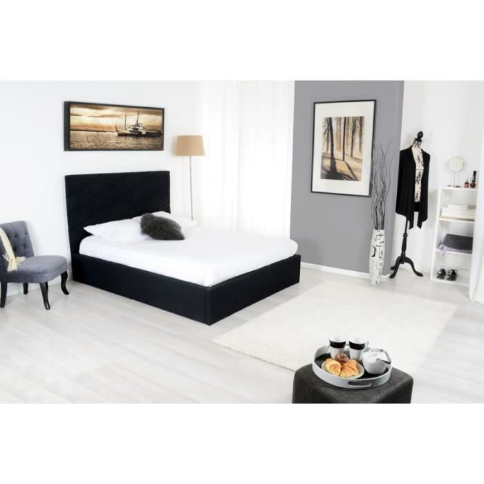 lit coffre en 140x190cm avec sommier tissu noir slash achat vente structure de lit cdiscount. Black Bedroom Furniture Sets. Home Design Ideas