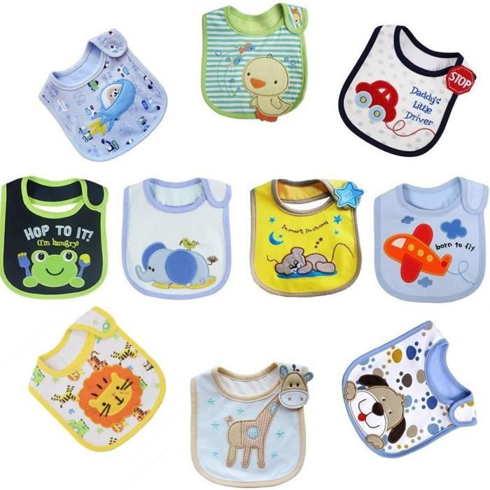 tomkity lot de 10 bebe bavoirs impermeable 0 a 36 mois