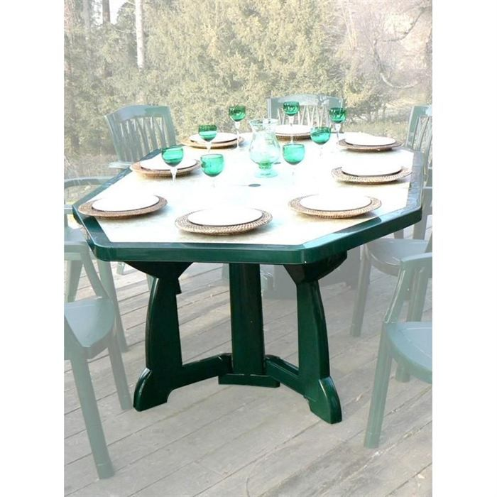 Table de jardin extra large Olympia verte - Achat / Vente table de ...