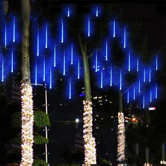 ext/érieur d/écoration de sapin 50 cm Bleu Meteor Guirlande lumineuse de douche /étanche avec 10 tubes de 540 LED pour f/ête de mariage 10 tubes 540 LED Cristal No/ël jardin