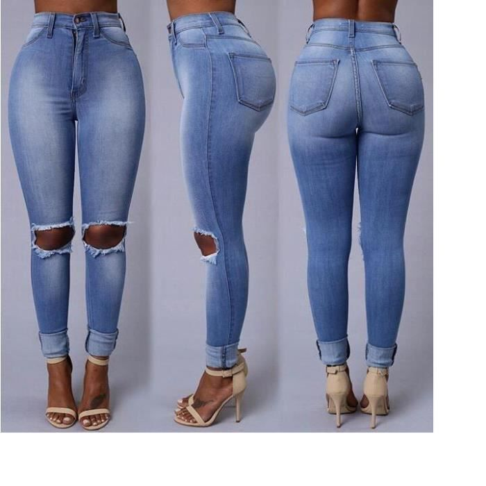 jeans femmes denim pantalon crayon trous genou exposed tight slim sexy bleu style simple jeans. Black Bedroom Furniture Sets. Home Design Ideas