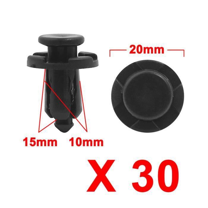 Sourcingmap/® 30pcs 14mm Diam/ètre Trou Garniture Porte Voiture Rivets Plastique Aile Noire Clip Fixation