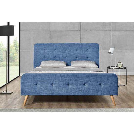 CONCEPT USINE Lit Lanka Cadre de lit scandinave Bleu avec Pieds en Bois 140x190