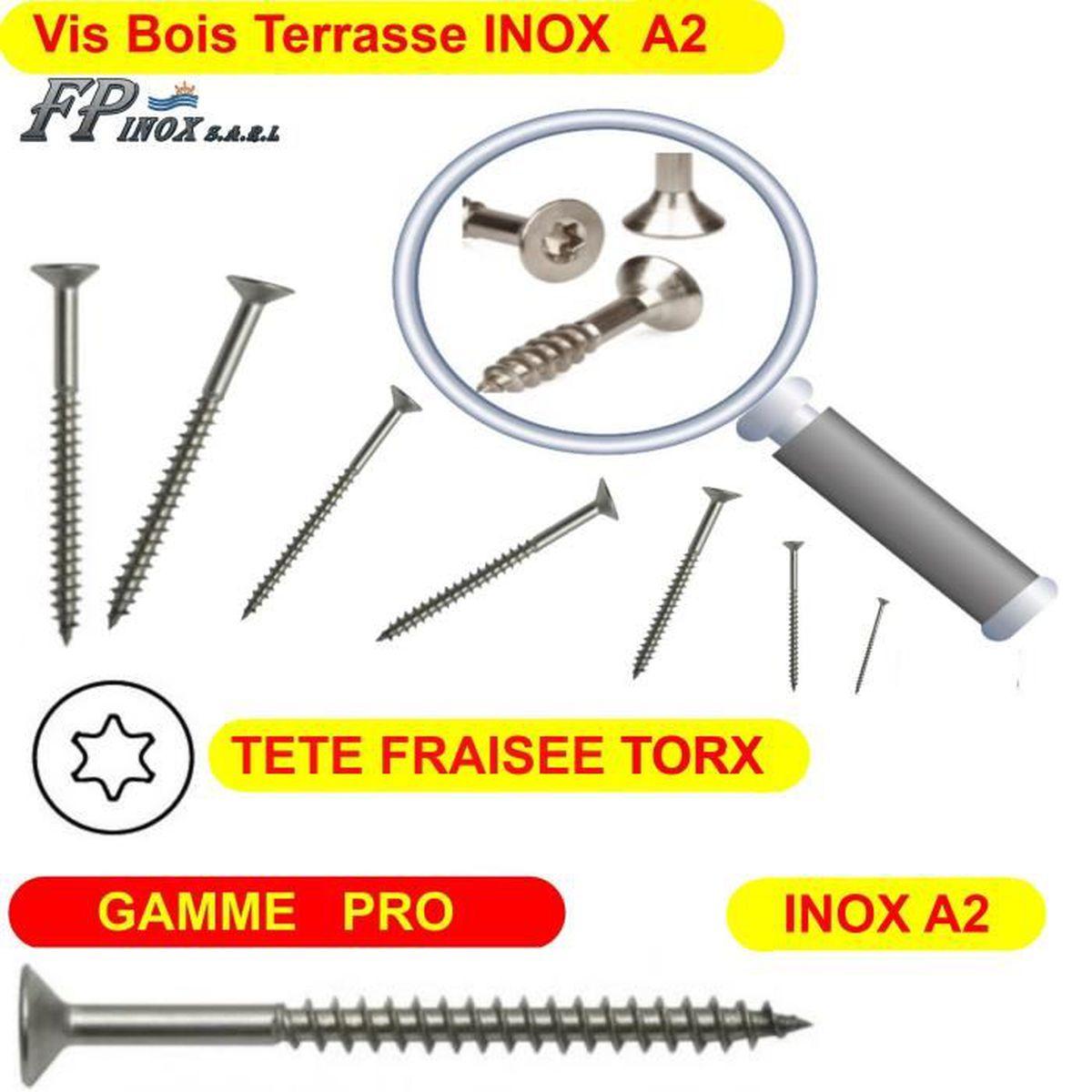 TORX 4.0 x 35 mm TX20 Vis /à bois t/ête frais/ée pour terrasse ou panneaux Lot de 500