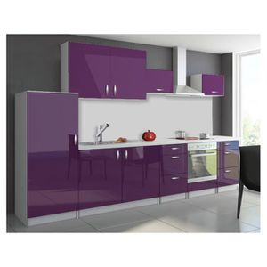 CUISINE COMPLÈTE Cuisine en kit 320 cm OXIN aubergine violet laqué