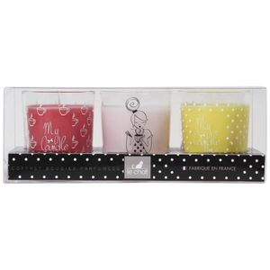 BOUGIE DÉCORATIVE LE CHAT Coffret bougies My Candle Box parfums rose