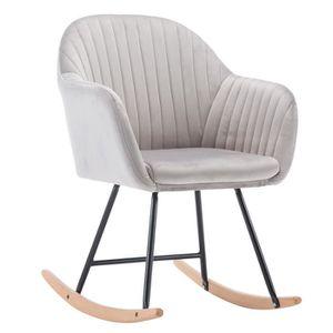 FAUTEUIL WOLTU Fauteuil à bascule en velours, Chaise à basc