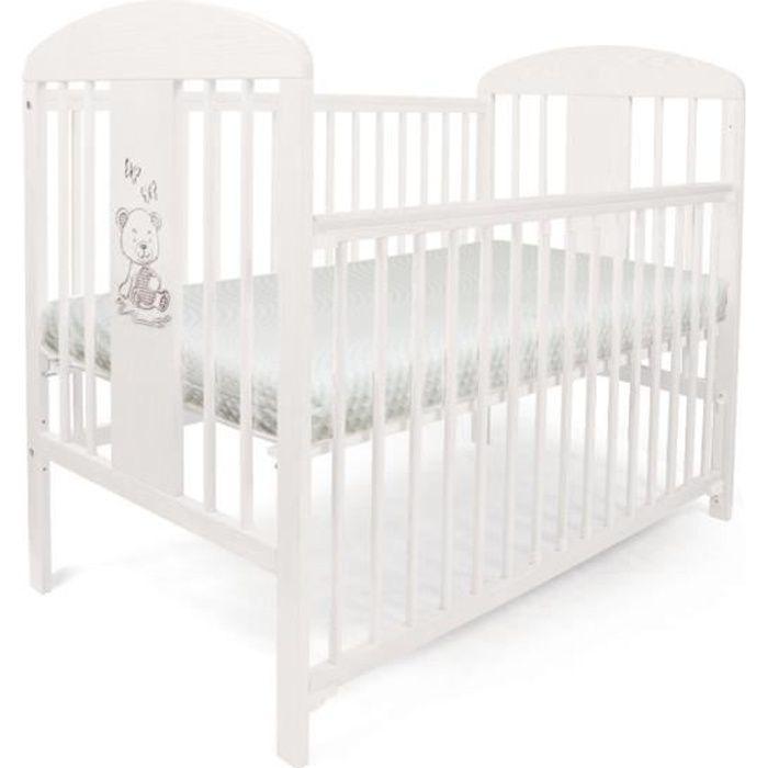 Lit pour Bébé à barreaux TOMI 20 - -Ourson- Barrière coulissante avec MATELAS, Blanc.