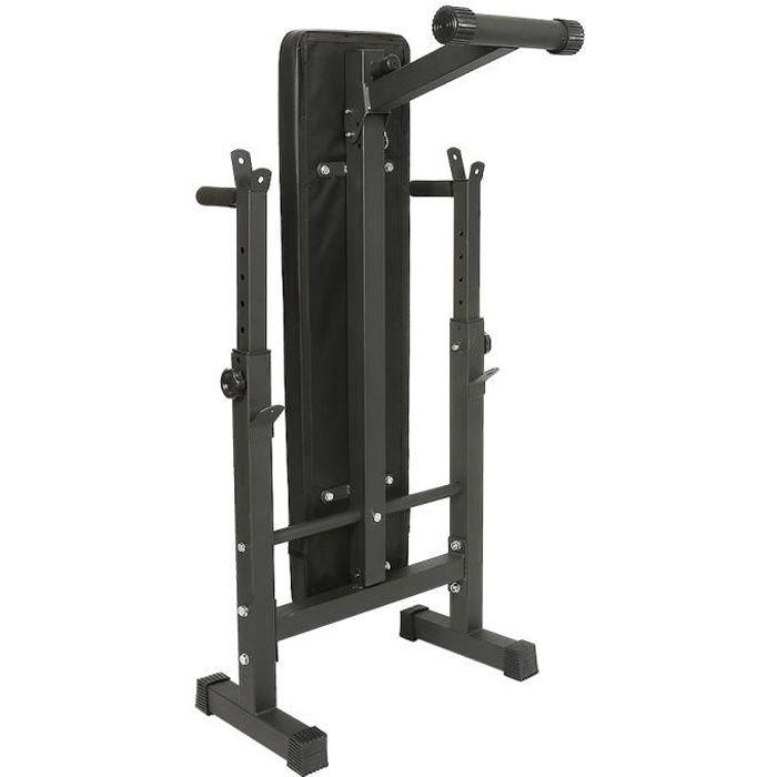 BOZH Banc de Musculation Pliable Réglable avec Support de Barres 112*58.5*104cm Noir
