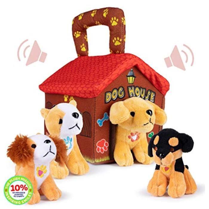 Peluche WD6L3 Porte-maison pour chien en peluche avec 4 animaux en peluche chiens aboiements interactifs, jouet de récréation et idé