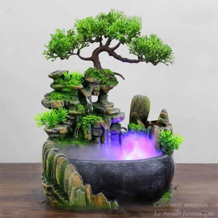 Créatif Intérieur Simulation Résine Rocaille Cascade Statue Feng Shui Fontaine D'eau Maison Jardin Déco