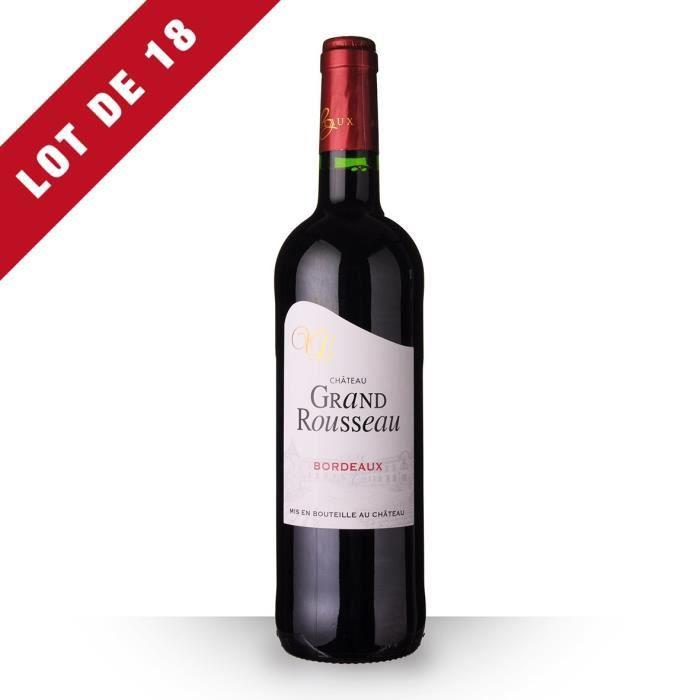 18x Château Grand Rousseau 2016 AOC Bordeaux - 18x75cl - Vin Rouge