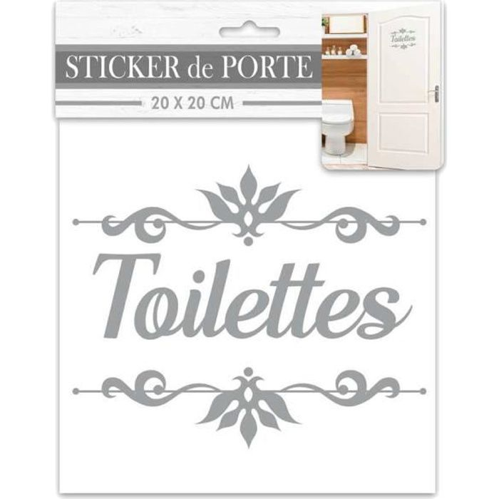Sticker decoratif de porte TOILETTES