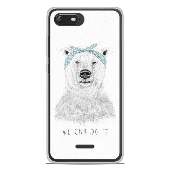 Coque Housse Wiko Tommy 3 en silicone gel protection arrière- BS We can do it
