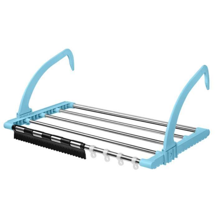 1 pc balcon séchoir en acier inoxydable multifonctionnel pliable cintre chaussures support pour rebord de LAVE-LINGE SECHANT