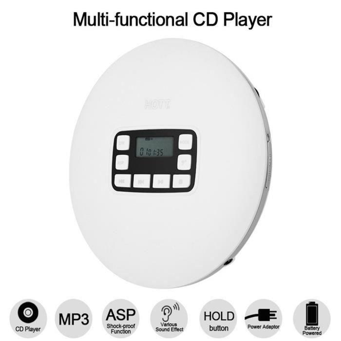 HOTT CD 611 Lecteur CD portable LED Ecran de Lecteur Hi-Fi Walkman Pour CD-R - CD-RW - MP3