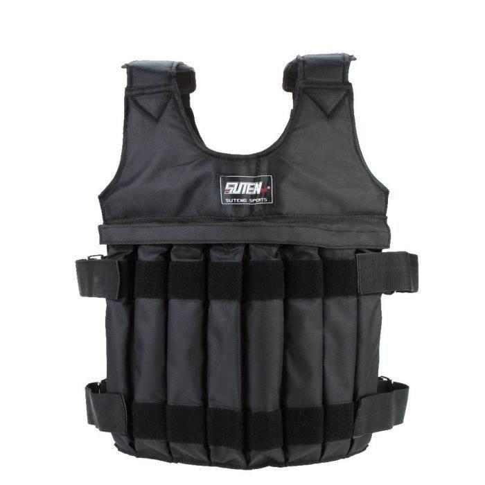 SUTEN Max 20 kg de chargement Poids ajustable Weighted Vest Blouson Gilet d'exercice boxe entrainement Weightloading sable Veteme.