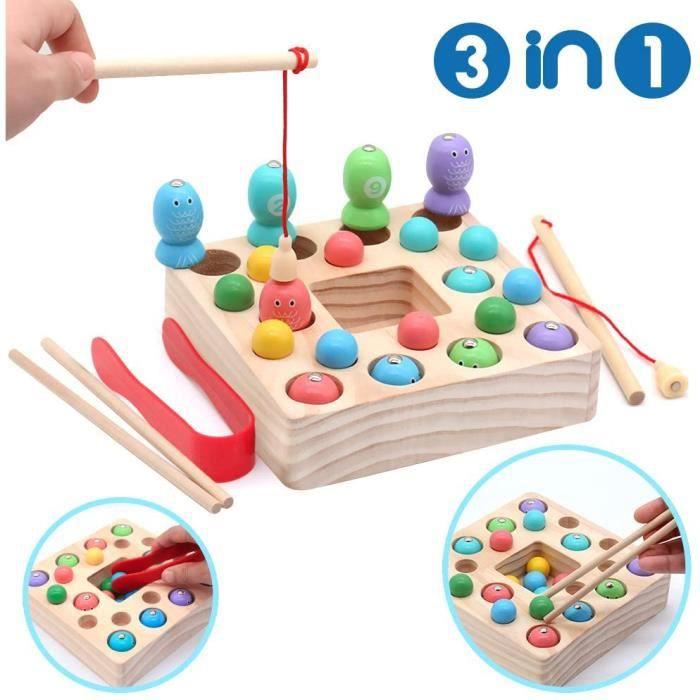 Jeux Montessori Jeu de Magnetique Pêche Puzzle avec Billes en Bois Jeux Société Poissons Educatif Jouet Enfant 3 4 5 6 Ans
