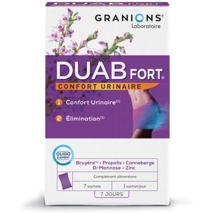 GRANIONS Duab Fort - 7 Sachets = 7 Jours - Canneberge, D-Mannose, Propolis, Bruyère, Oligoélément - Inconforts Urinaires Répétitifs,