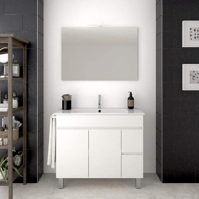 Meuble de salle de bain VIDAR 100CM Blanc avec plan vasque et miroir. Avec porte serviettes en cadeau!!!