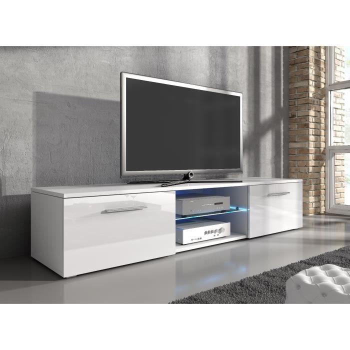 e-Com - Meuble TV Samuel - 150 cm - Mat Blanc et Blanc Brillant