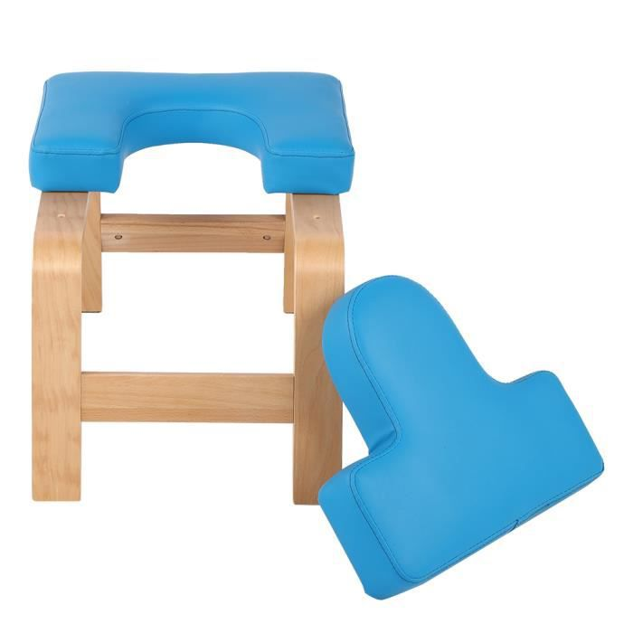 Chaise d'inversion de yoga bleu en bois tabouret à l'envers banc d'exercice de sport (bleu)-YIN
