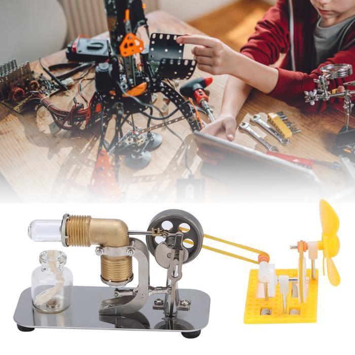 Modèle de moteur Mini Stirling Moteur Stirling haute température avec accessoires de bricolage Modèle d'enseignement scientifique