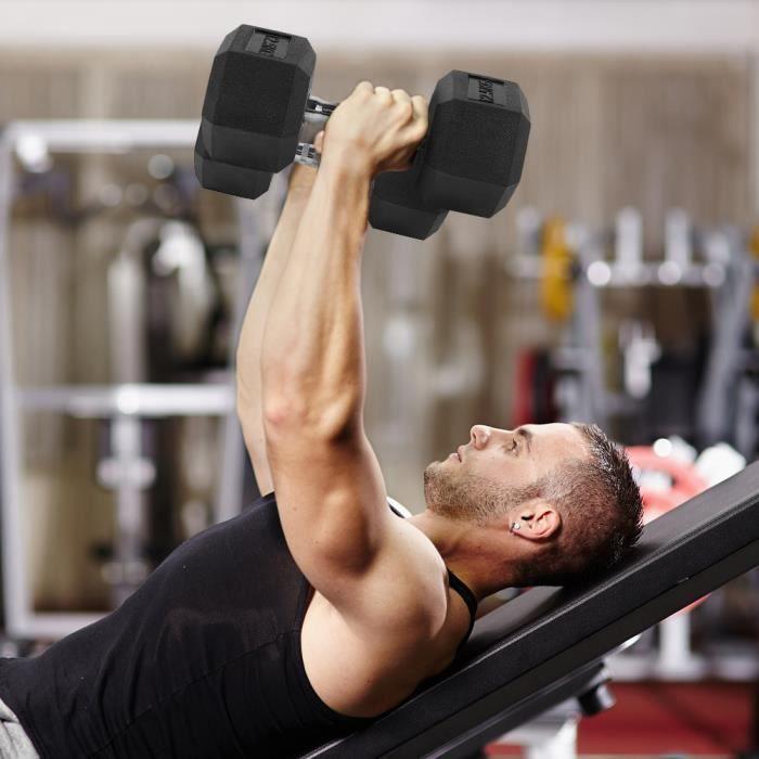 12,5 kg en caoutchouc hexagone exercice haltère gymnase à domicile entraînement équipement de remise en forme sans défilement -VQU
