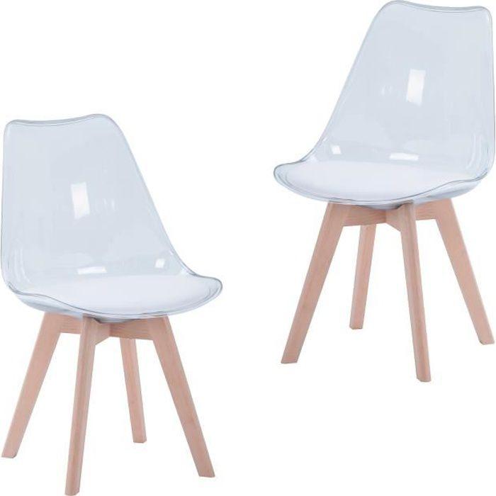EGOONM Lot de 2 chaises transparentes, chaises de salle à manger coussin en PU design scandinave(Blanc)