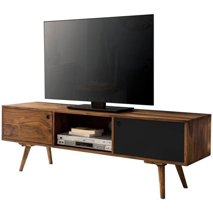 FineBuy Meuble TV Bois Massif 140x45x35cm Lowboard TV commode Étagère télévision [Noir]