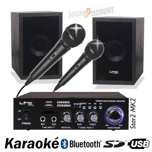 PACK KARAOKE STAR2MKII AVEC AMPLI + ENCEINTES + MICRO + USB BLUETOOTH MP3 PA-DJ