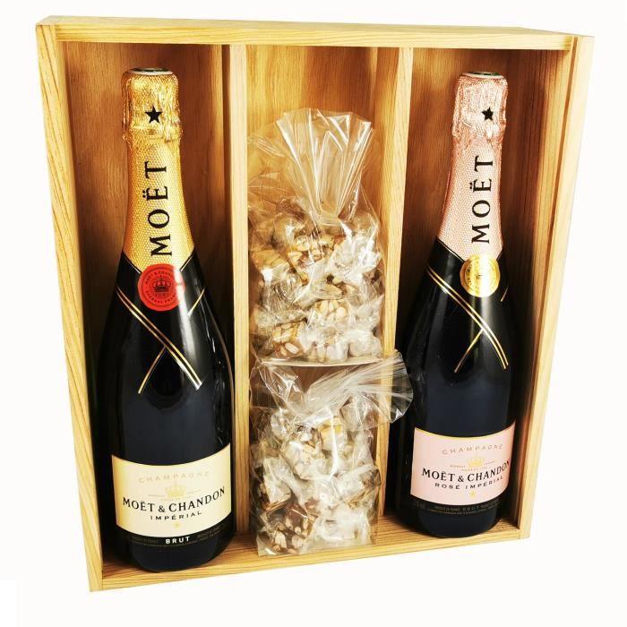 Champagne Moët & Chandon - Impérial Brut - Rosé & 2 * 150 grammes Nougadets Noirs - Jonquier Deux Frères - Dans un coffret bois