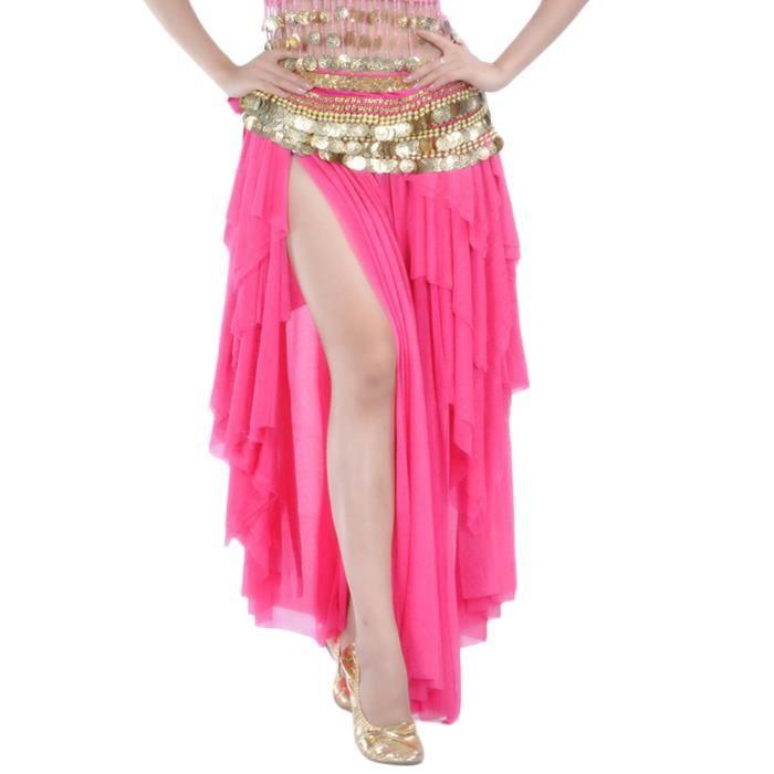 Femme Jupe De Danse Élastique Taille Sans Ceinture Rose 2