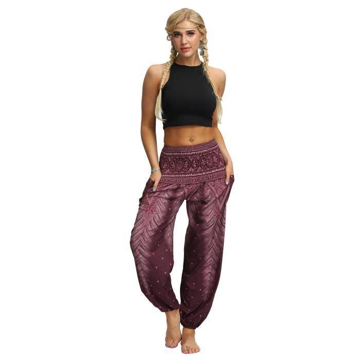 Femme Harem Pantalon Yoga Sarouel Legers Hippie Baggy Léger Ethnique Calqué Smockée Taille Haute avec Poches Été Plage