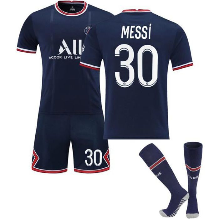 Maillot de Football Une Collection de Paris-Messi 30 Maillot Domicile Bleu Tenue + Chaussette Tissu Respirant pour Adulte