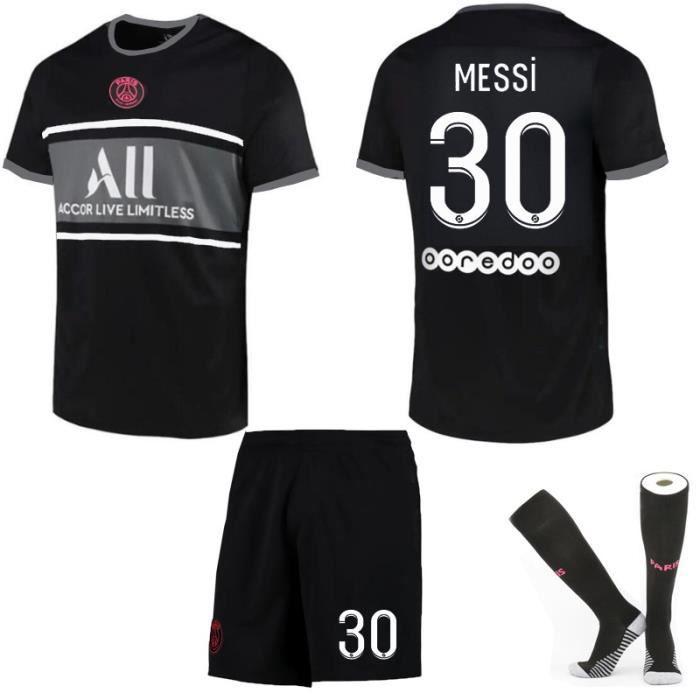 Maillot de Football 2122 une collection de Paris-Messi 30 Maillot Extérieur Noir Tenue + Chaussette Tissu Respirant pour Adulte