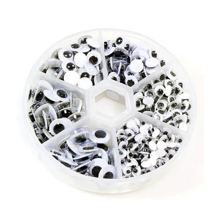 Accessoires création boite de cabochons oeil plusieurs dimensions (600 pièces) Noir