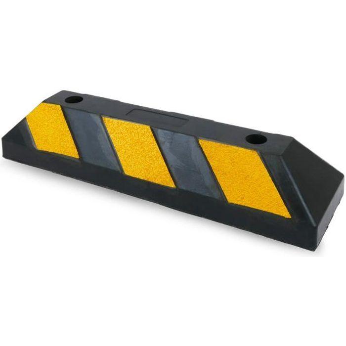 PrimeMatik - Butoir de stationnement Arrêt roue pour parking en caoutchouc et réflecteurs 55 cm