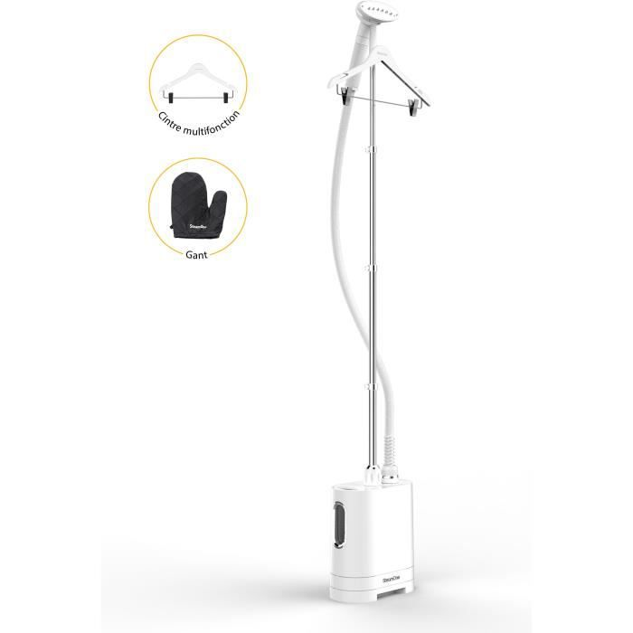 STEAMONE H2020 - Défroisseur vertical blanc - 1900W - 40g par minute - prêt en 60 scd - 1,2L