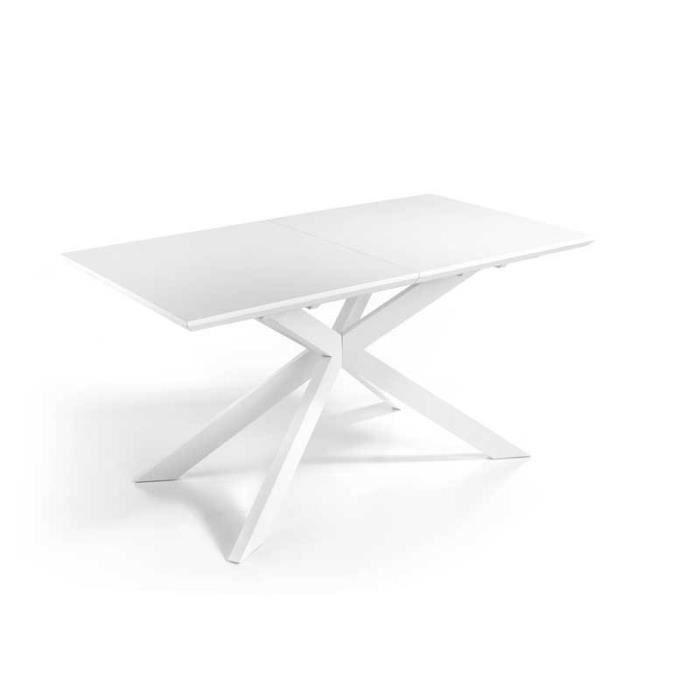 Table de repas à allonge Laque blanc mat - PICTON - L 160/210 x l 90 x H 76