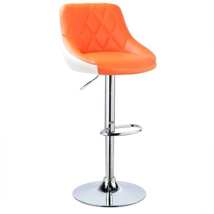 WOLTU Design 2 Couleurs Tabouret de Bar en Similicuir avec repose-pied, Chaise de bar Hauteur réglable,Orange Blanc