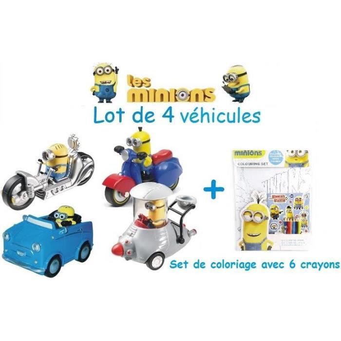 lot de 4 vehicules minions voiture minions moto minions scooter minions et autre vehicule. Black Bedroom Furniture Sets. Home Design Ideas
